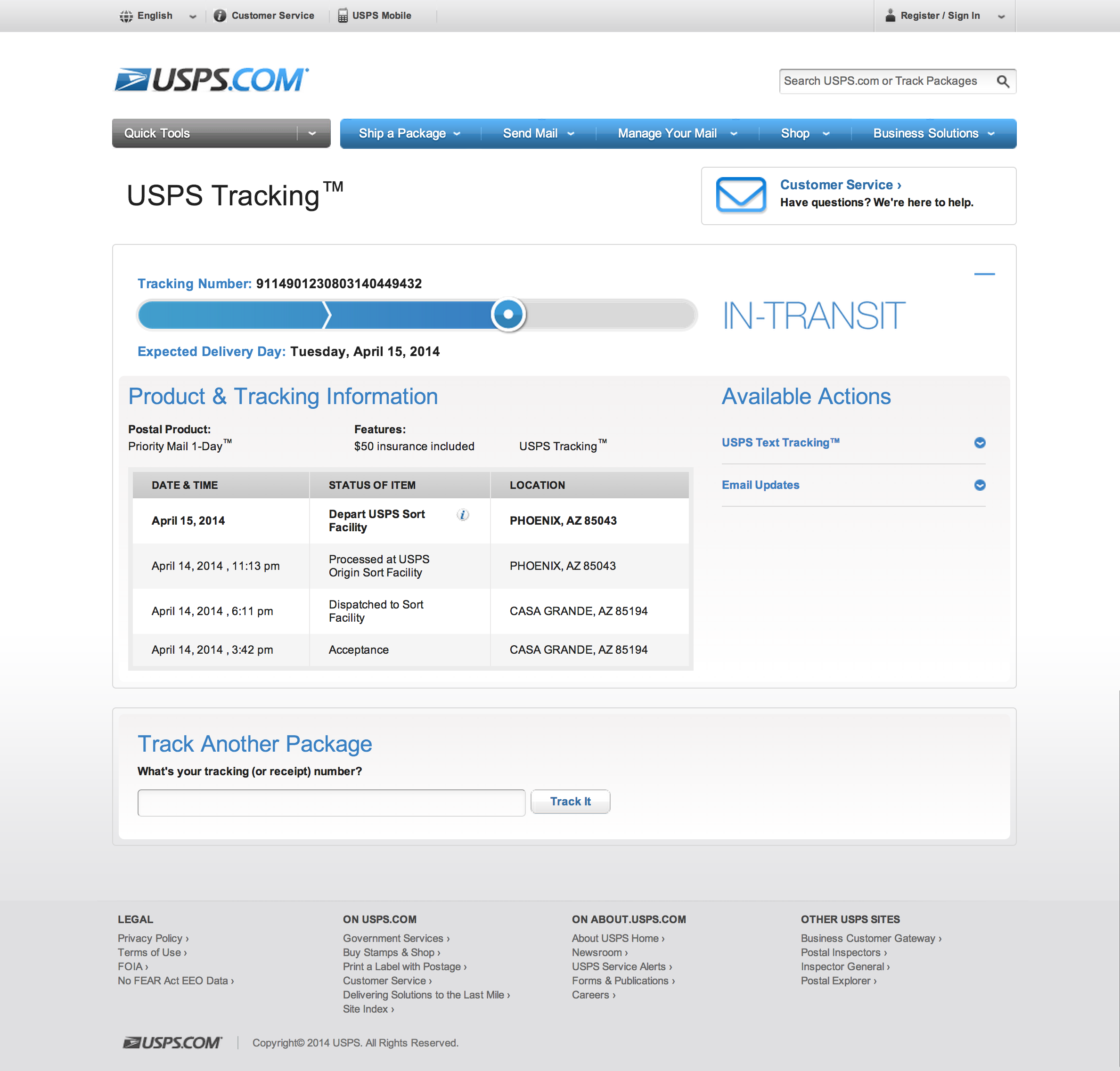 USPS tracking on April 15